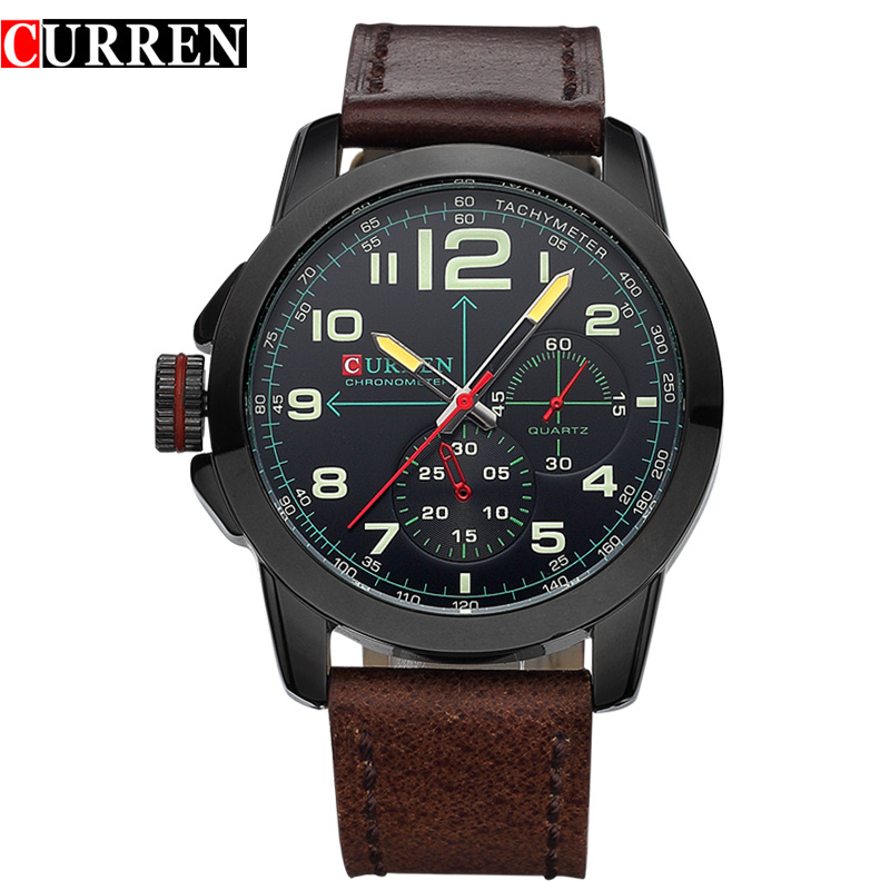 CURREN Men Watch With Quartz Leather Strap Fashion Lefty Watch 8182B