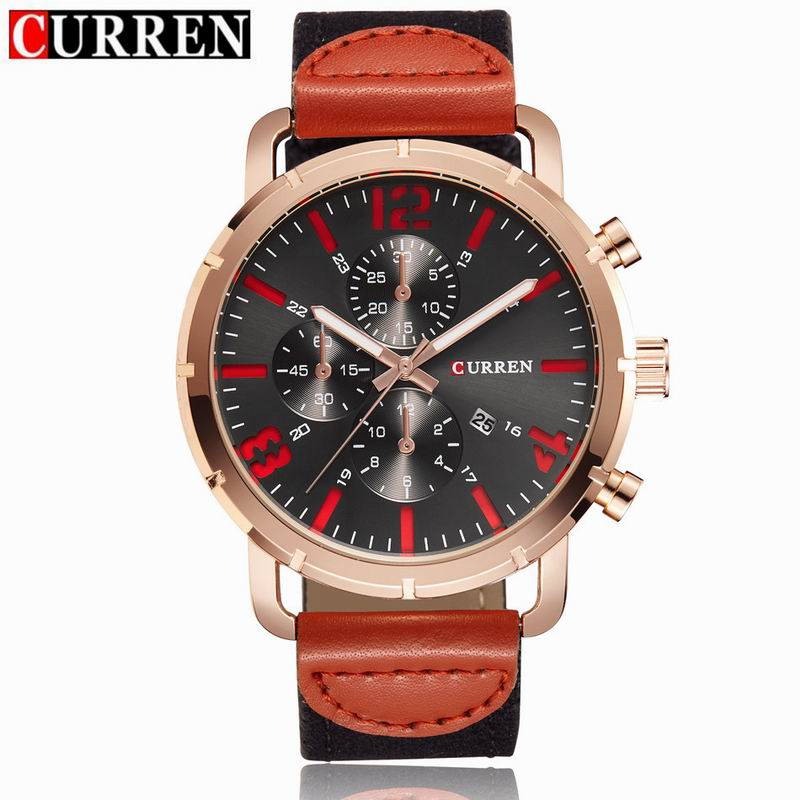 CURREN Men Watch With Quartz Date Leather Strap Business Watch 8194