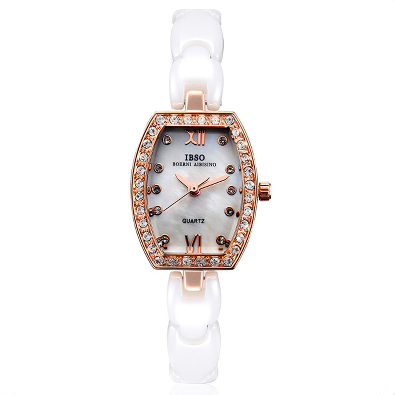 IBSO Dress Women Watch With Tonneau Dial Quartz Ceramic Bracelet Watch 3836