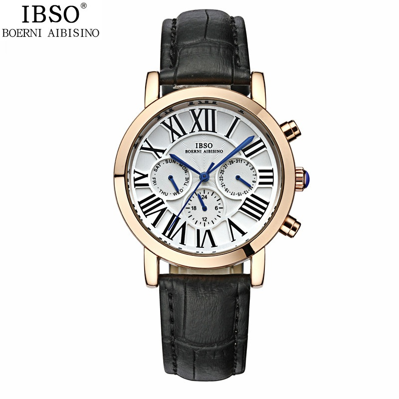 IBSO Fashion Women Watch With Roman Numbers Quartz Leather Watch 3960