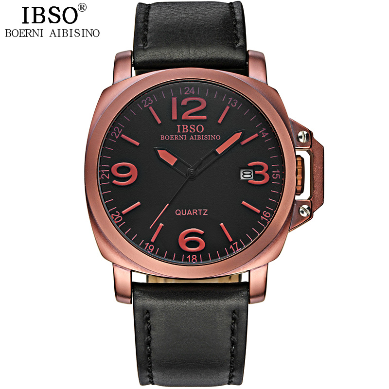 IBSO Fashion Men Watch With Quartz Date Leather Vintage Watch 8113