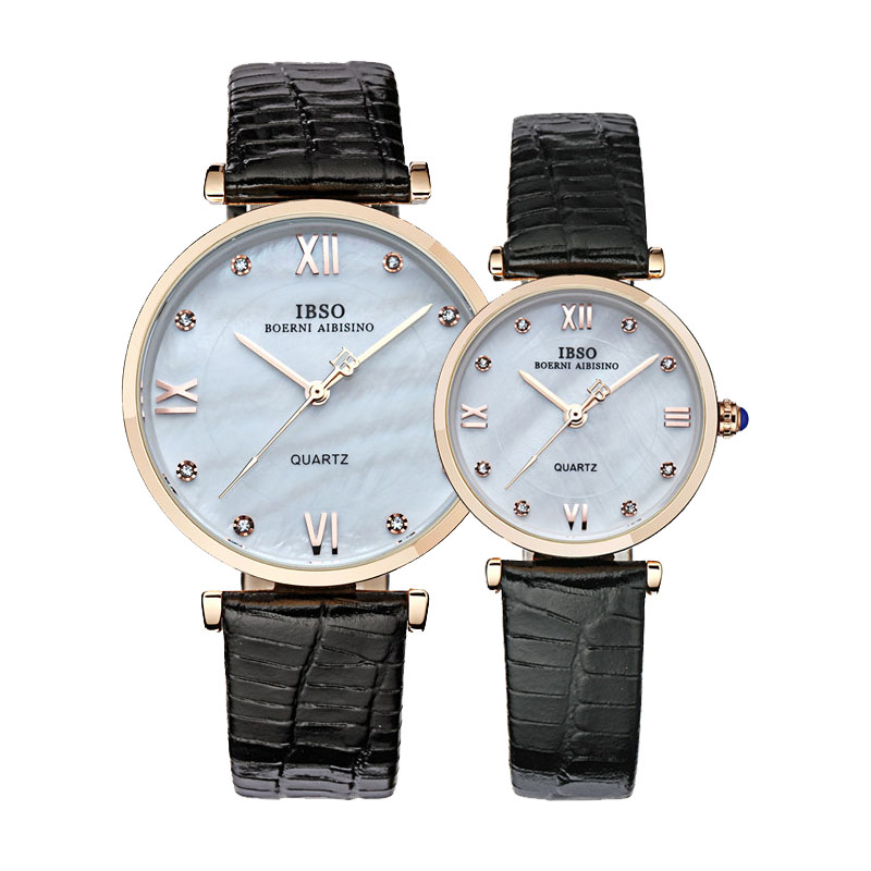IBSO Fashion Couple Watch With Diamond Quartz Leather Strap Watch 3802