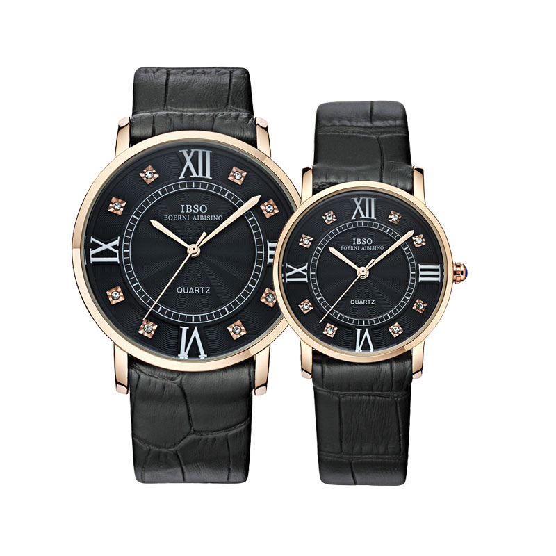 IBSO Fashion Couple Watch With Quartz Leather Strap Watch 8126