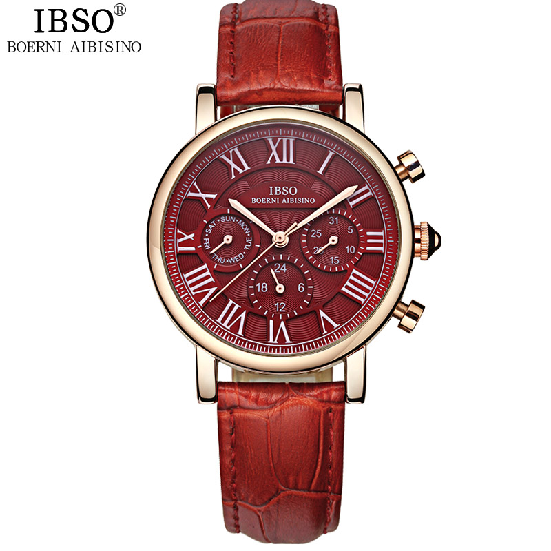 IBSO Fashion Women Watch With Quartz Day-Date Rose Gold Watch 6813