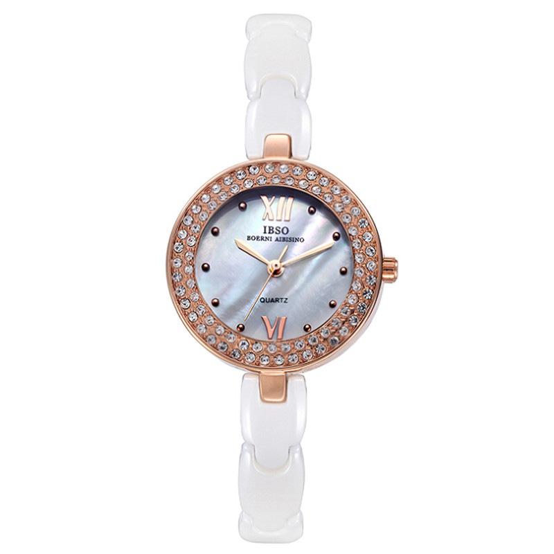 IBSO Fashion Women Watch With Quartz MOP Dial Ceramic Bracelet Watch 3838