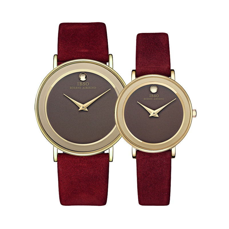 IBSO Casual Quartz Watch With Leather Strap Couple Watch 2216