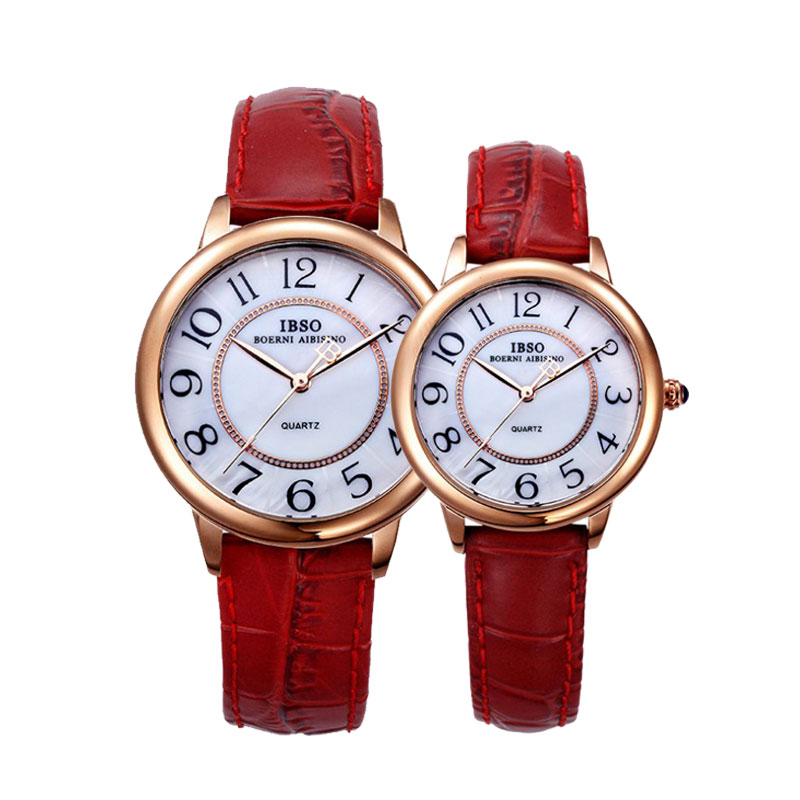 IBSO Fashion Couple Watch With Arabic Numbers Leather Quartz Watch 3811
