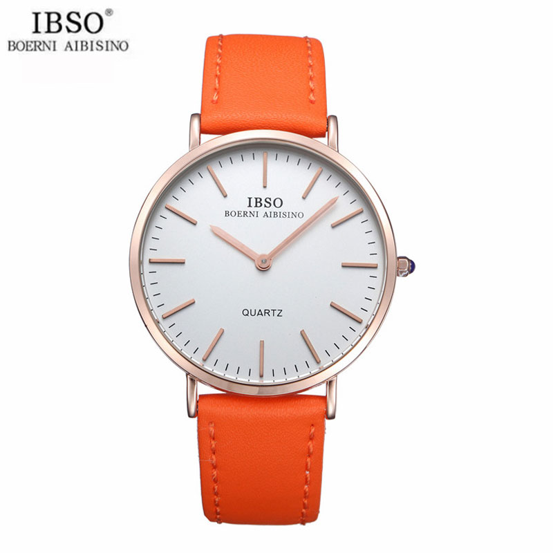 IBSO Exquisite Men Watch With Stick Markers Leather Quartz Watch 2203S