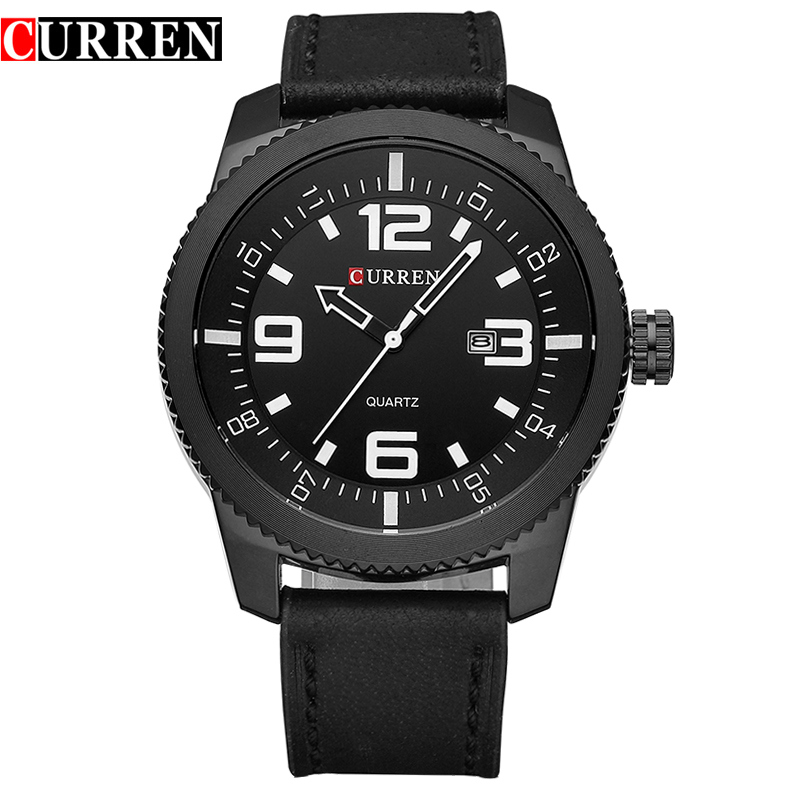 CURREN Quartz Watch With Date Leather Strap Business Men Watch 8180
