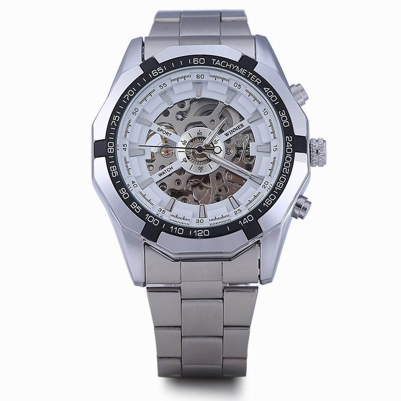 WINNER Men Watch With Automatic Skeleton Dial Full Steel Fashion Watch W340