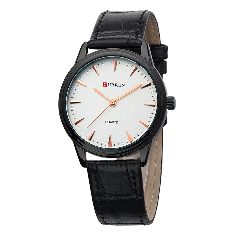 CURREN Casual Quartz Watch With Stick Markers Leather Men Watch 8119
