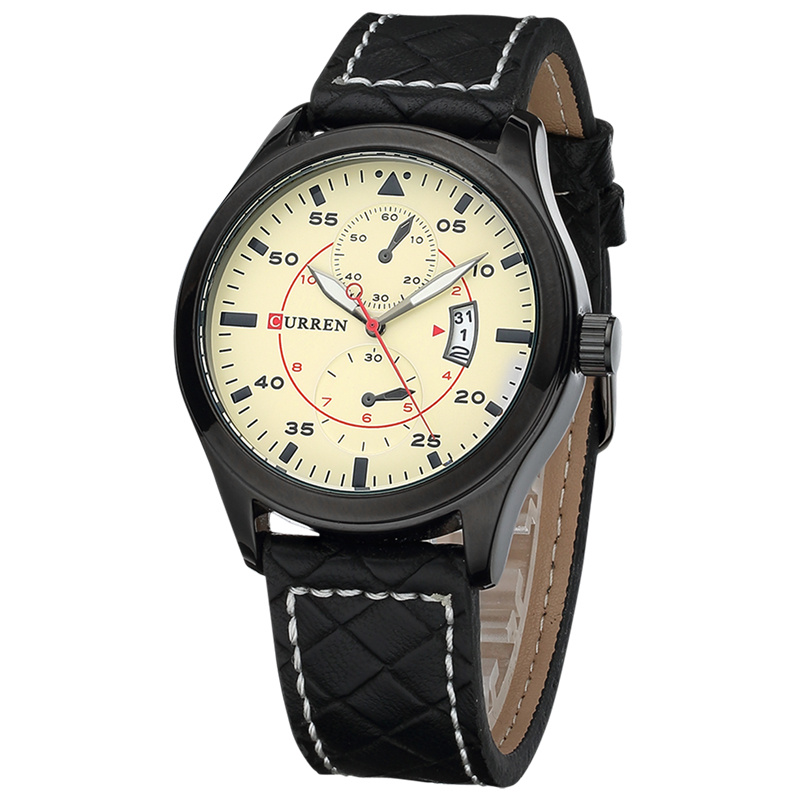 CURREN Business Quartz Watch With Date PVD Case Men Watch 8151