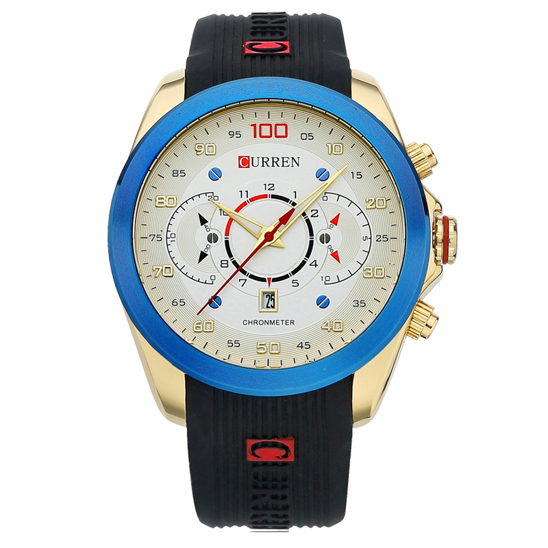 CURREN Men Watch With Rubber Strap Date Fashion Quartz Watch 8166