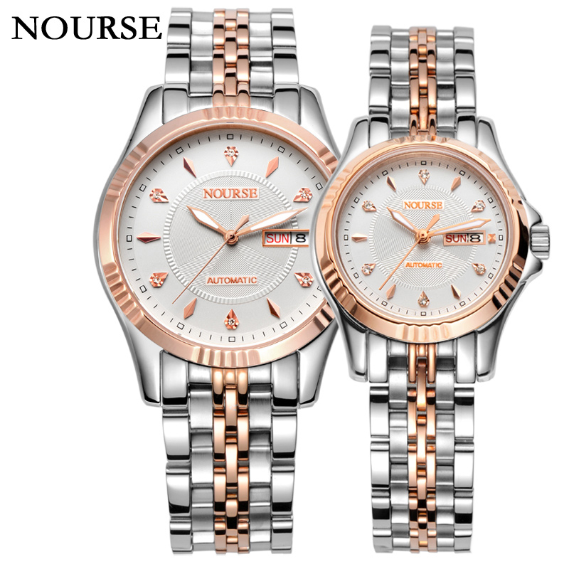 NOURSE Automatic Dual Calendar Watch Couple Day-Date Watch Business Watch 3021