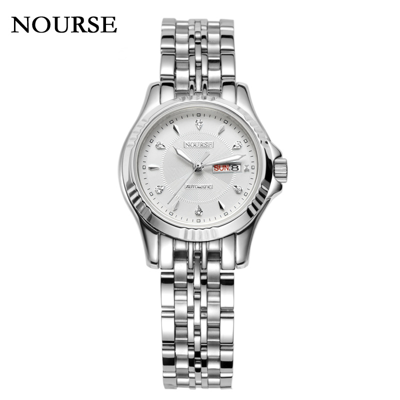 NOURSE Automatic Dual Calendar Watch Womne Day-Date Watch Business Watch 3021