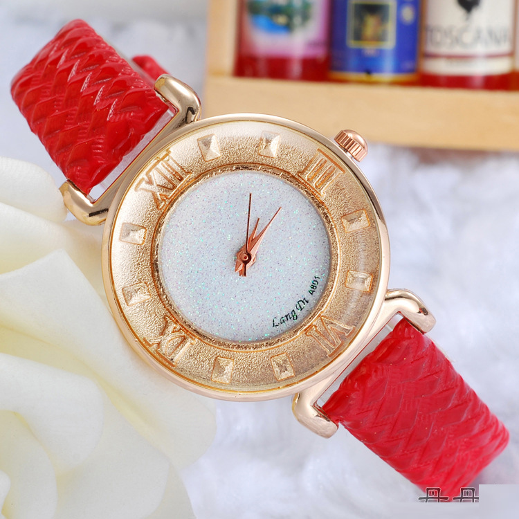 Fashion Watch with Diamonds Dial Quartz Red Leather Watch 68444