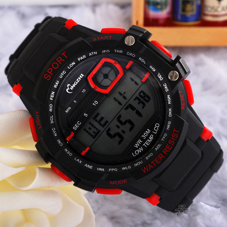 Fashion Outdoor Sports Digital Watch Black Dial Waterproof Watch 68295