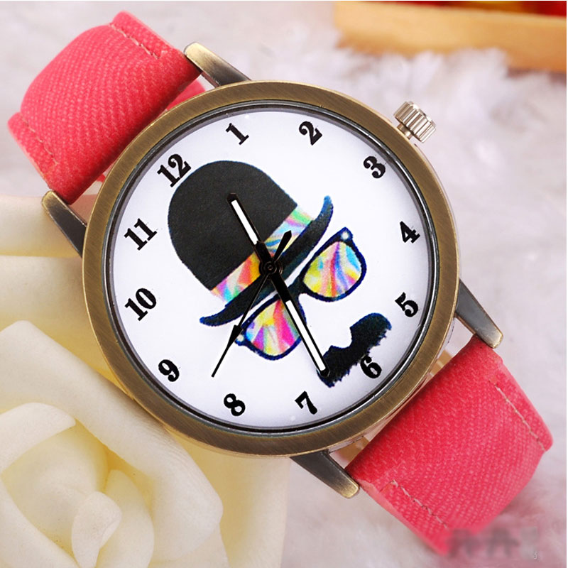 Cartoon Casual Watch with Simple Digital Style Quartz Leather Strap Women Watch 69451