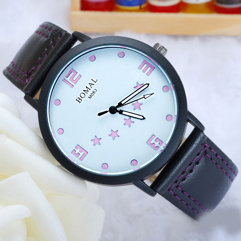 Casual Watch with  Color  Numbers Quartz  Leather Strap Men Watch 68751