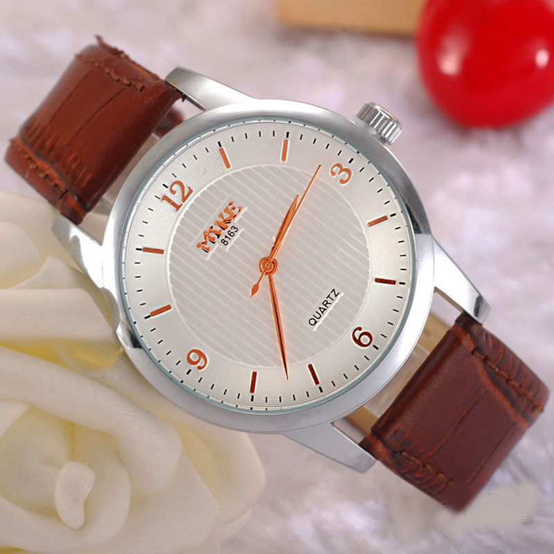 MIKE Casual Watch With Big Numbers Quartz Leather Strap Men Watch 69389