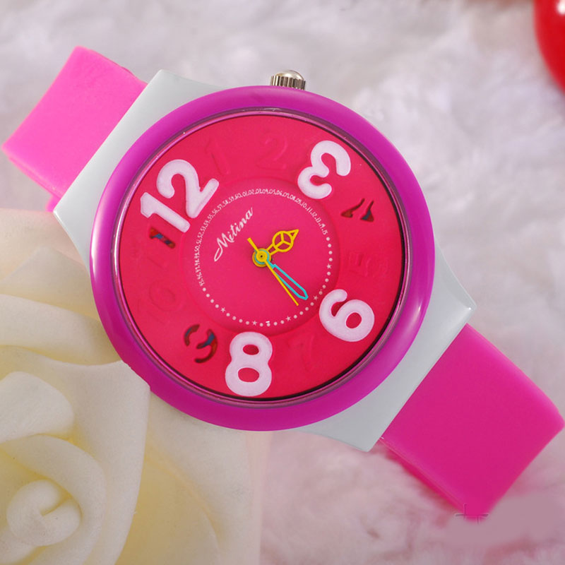Casual Silicone Watch With Big Numbers Quartz L Women Watch 69234