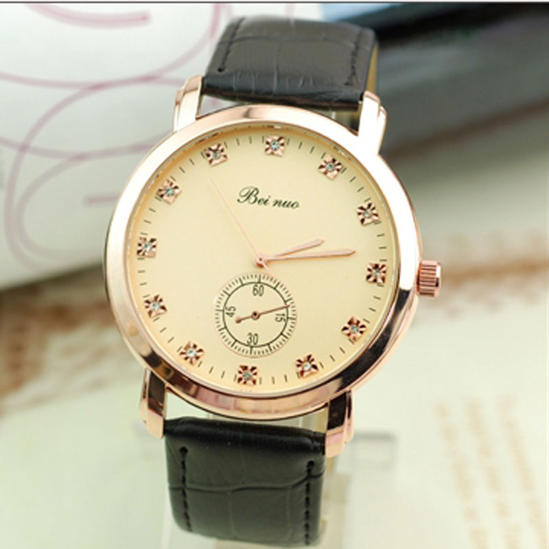 Casual Fashion Watch With Diamond Quartz Leather Strap Men Watch 66859