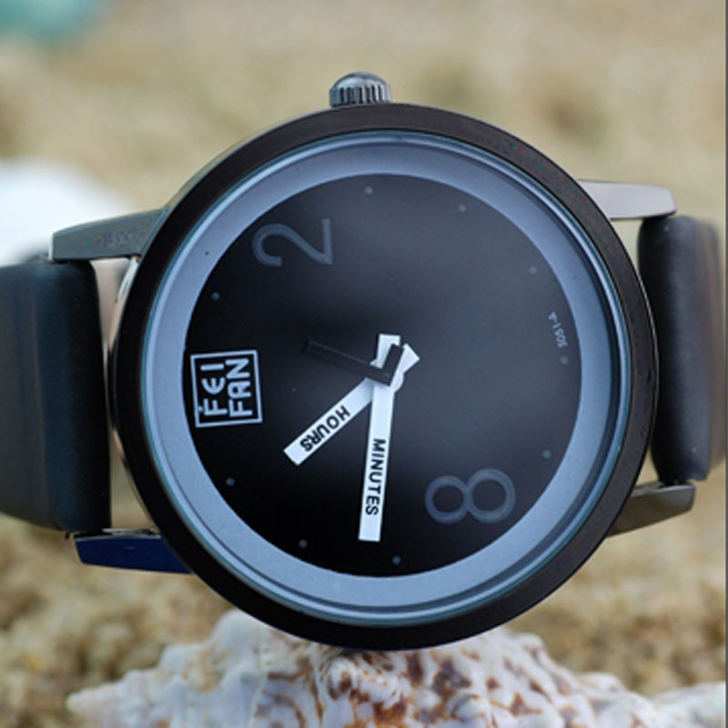 Casual Watch With  Quartz Black Leather Strap Men Watch 66923