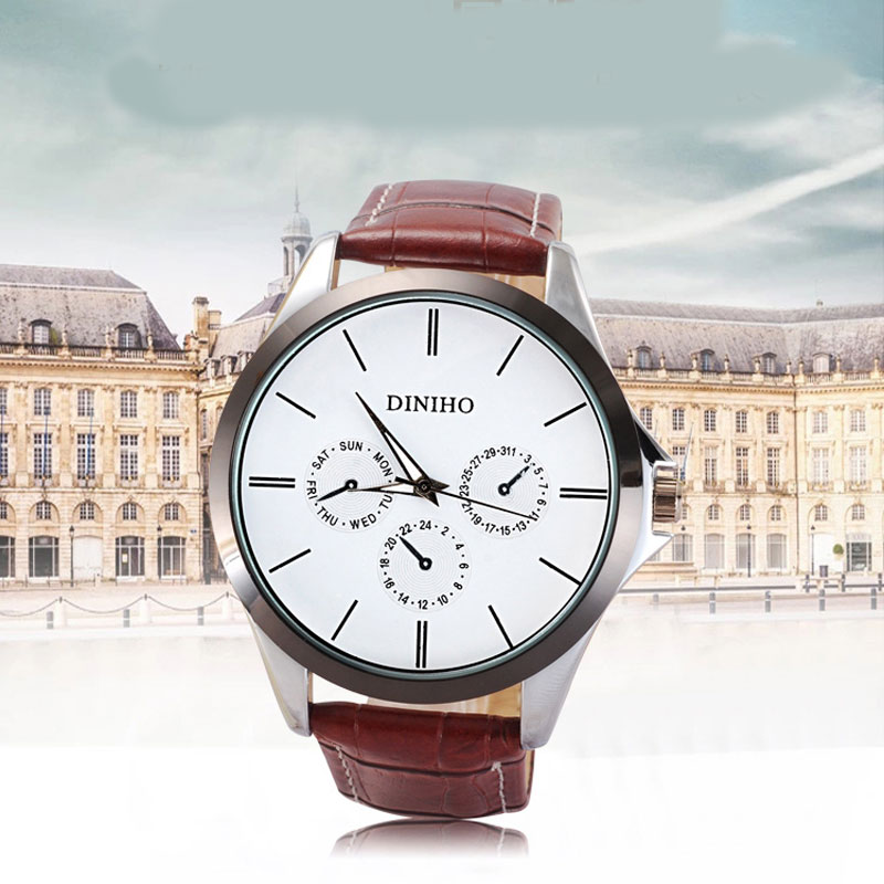 Casual Watch With Alloy Case Quartz Leather Strap Men Watch 69661
