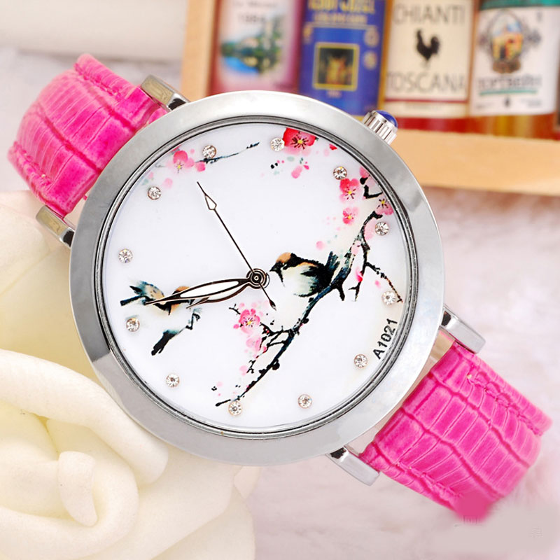 Casual Classic Watch With Diamond Quartz Leather Strap Women Watch 69596