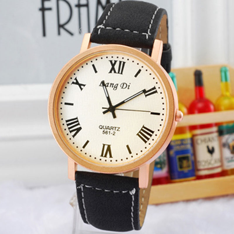 Casual Watch With White Dial Roman Numbers Quartz Leather Strap Men Watch 68022