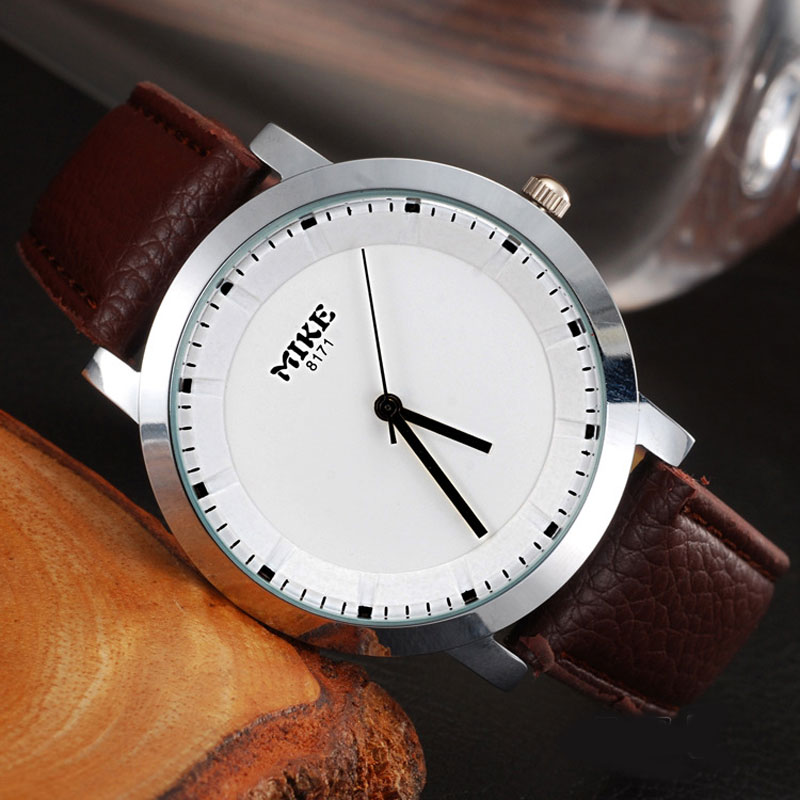 MIKE Business Watch With Steel Case Quartz Leather Strap Men Watch 68141