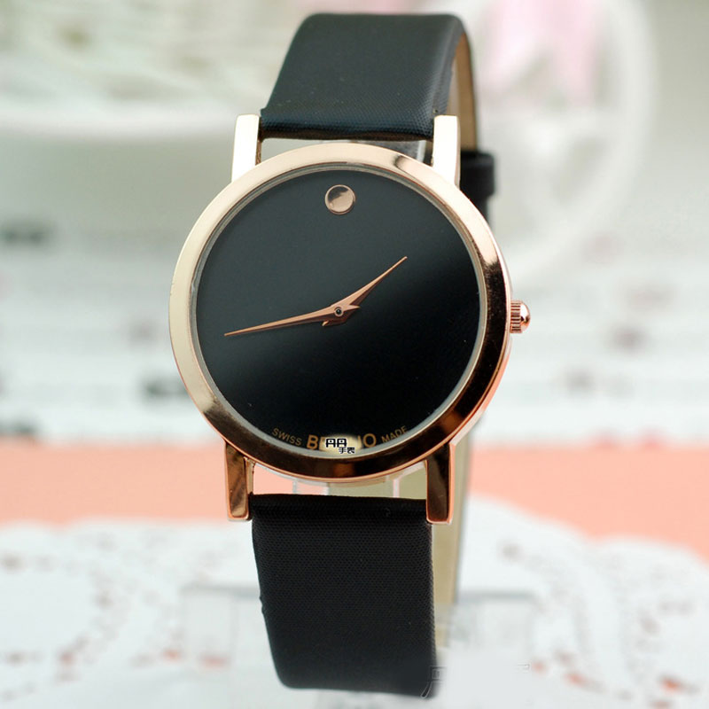 Casual Couple Watch With Simple Dial Quartz Leather Strap Watch 66540