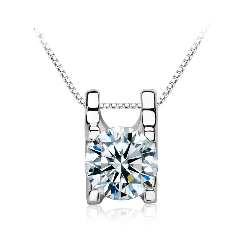 925 Sterling Silver Pendant Diamond Necklace For Women A006