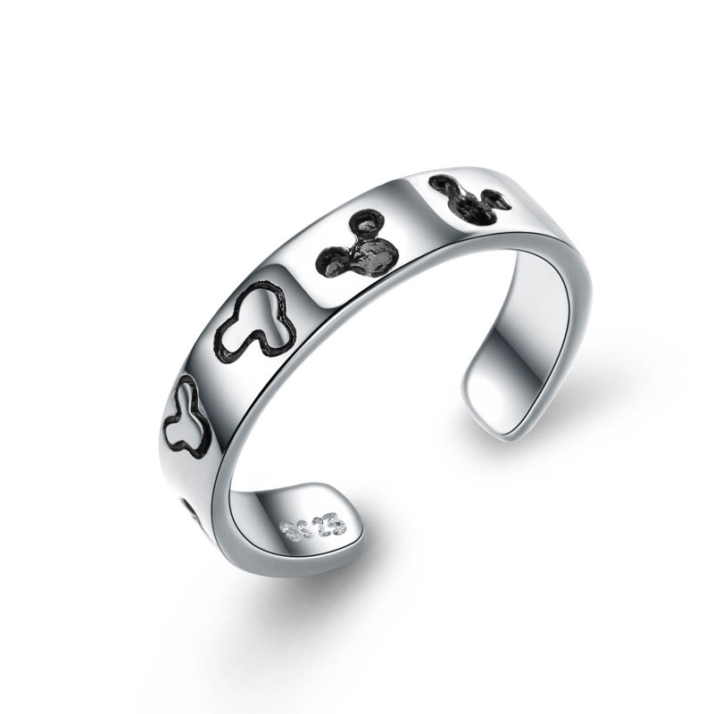 Cartoon Mickey Mouse Ring 925 Sterling Silver Ring E394