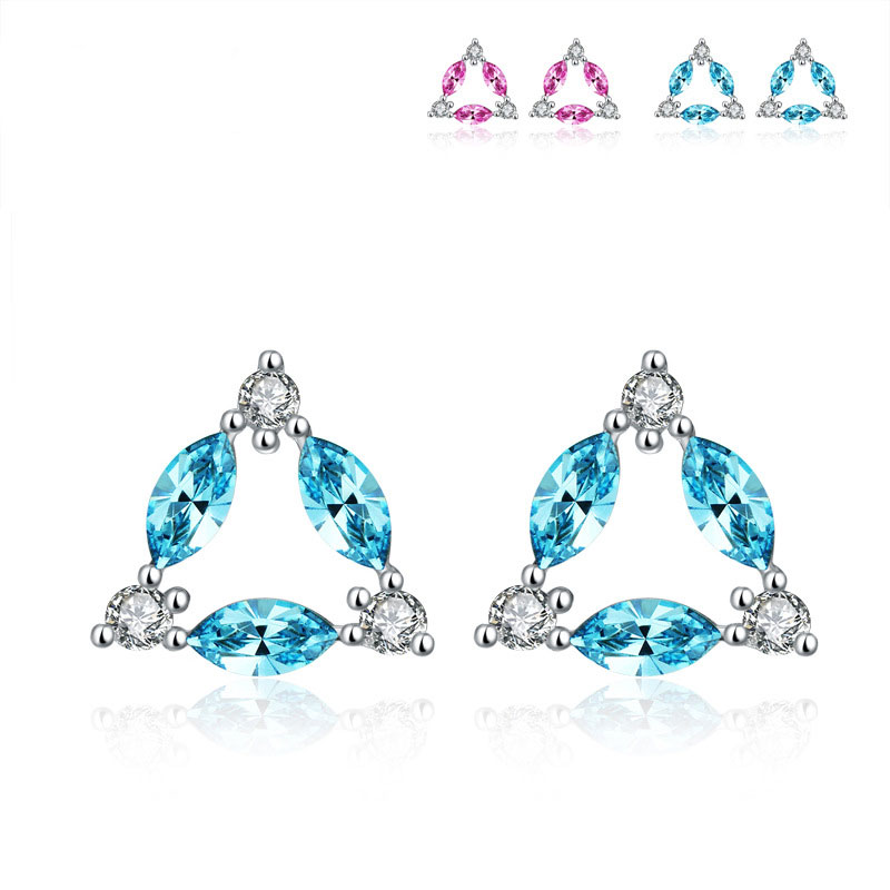 925 Sterling Silver Triangle Earrings Geometric Fashion Earrings B325