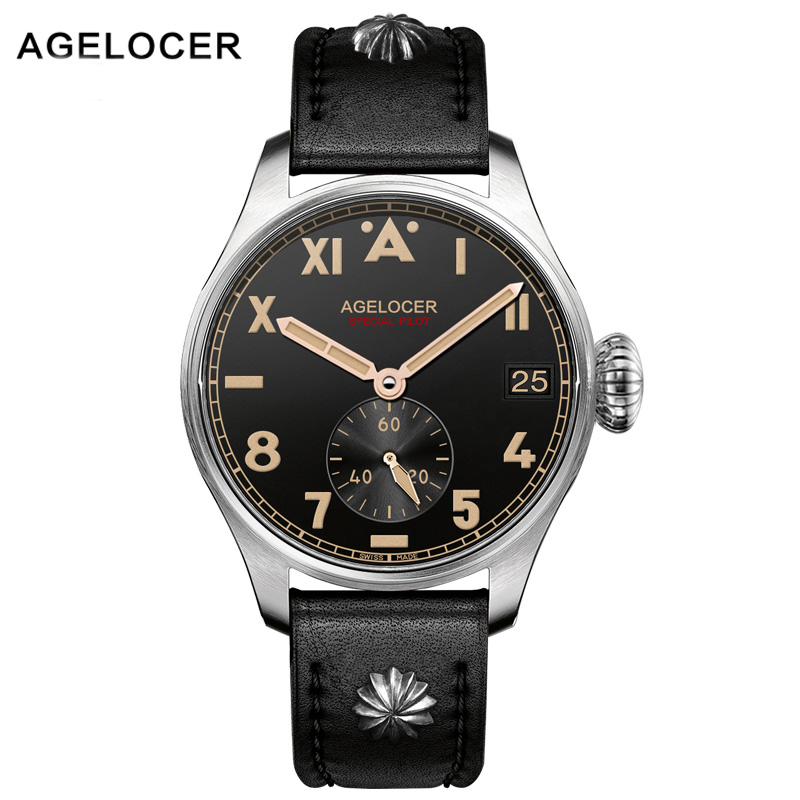 AGELOCER Men Mechanical Watch Waterproof Roman Number Army Leather Strap Watch