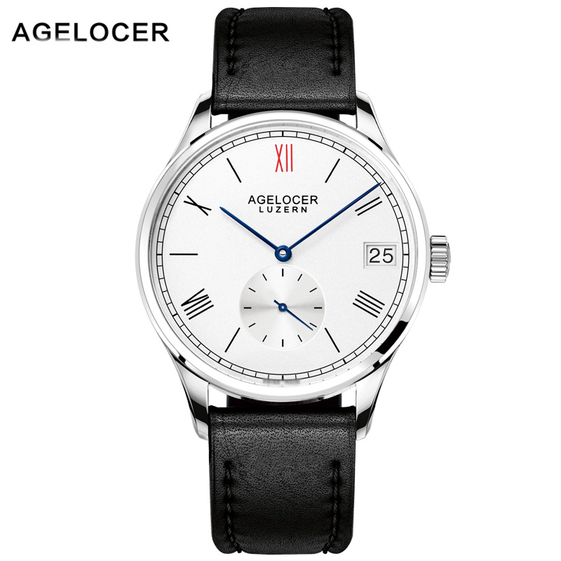 AGELOCER Men Mechanical Watch Luxury Famous Brand Real Leather strap Watch