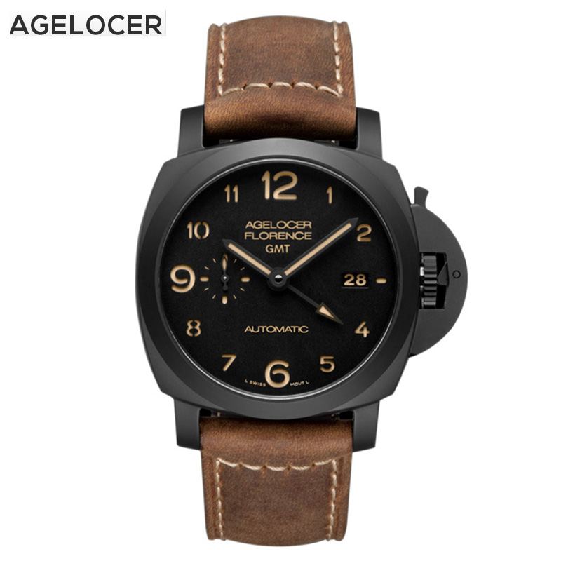 AGELOCER  Men Mechanical Watch Army Ceramics Strap Waterproof Watch