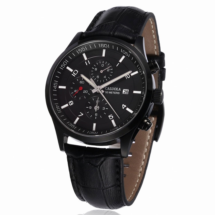 PVD Black Dial Black Leather
