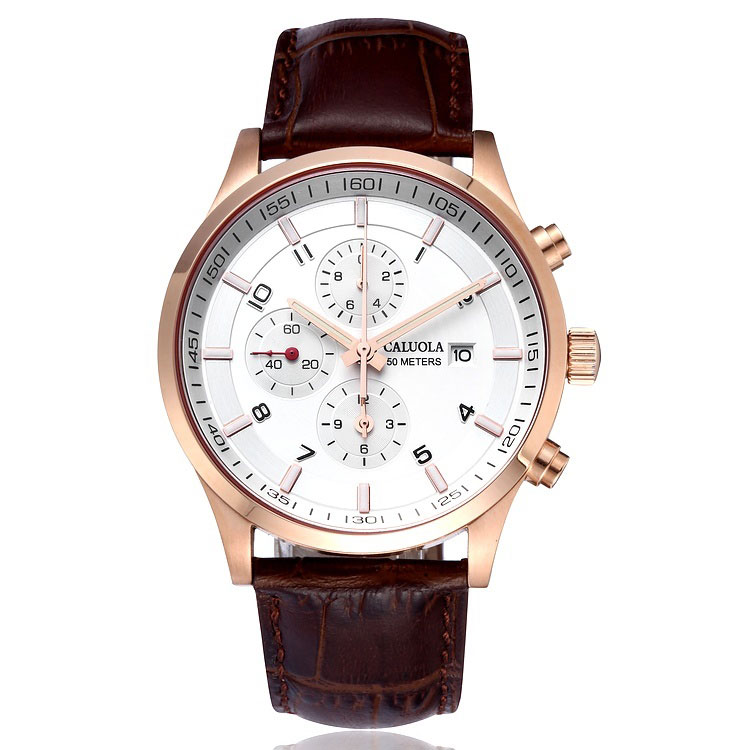 Rose Gold White Dial Brown Leather