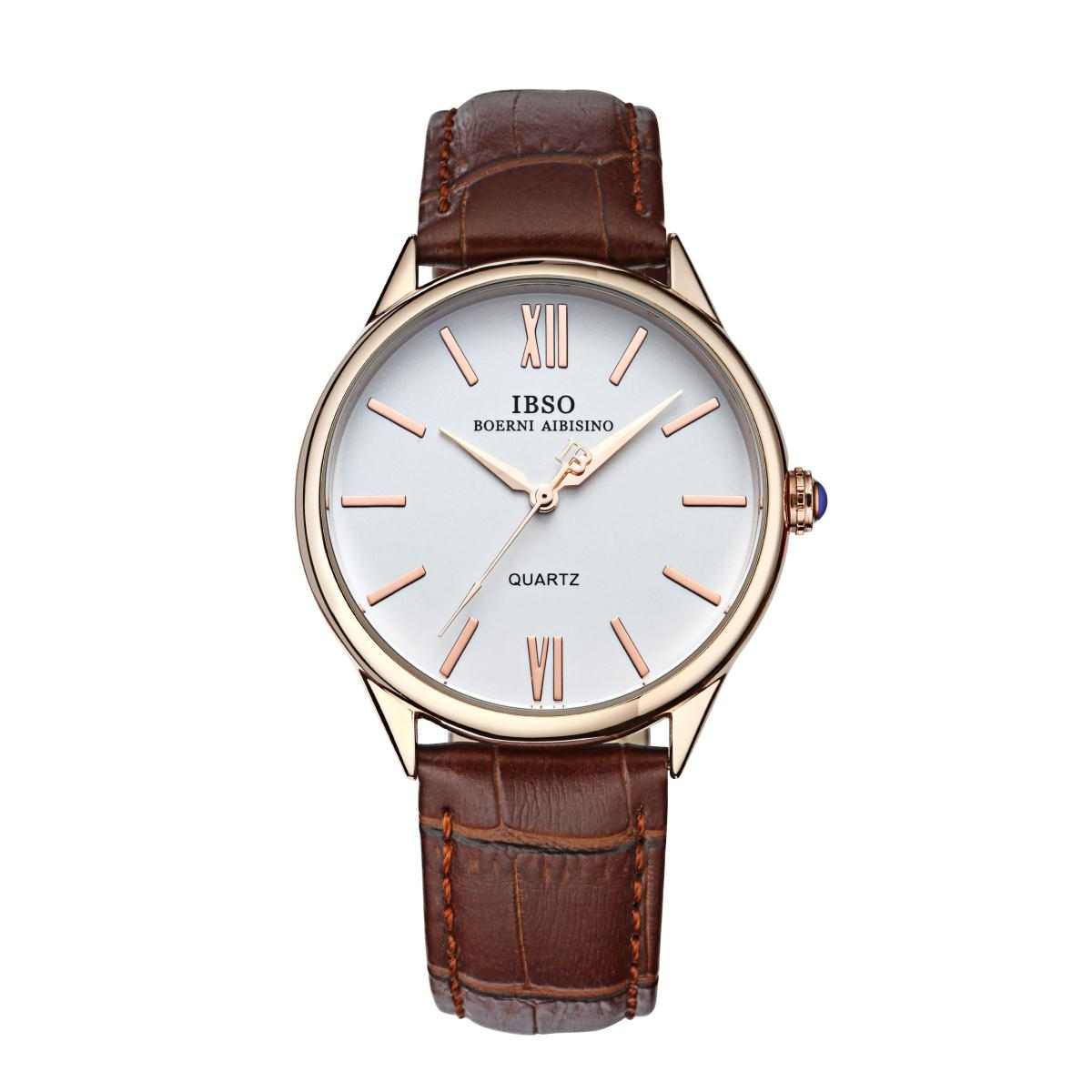IBSO Fashion Men Watches Quartz Leather Strap Casual Watches YYP3822