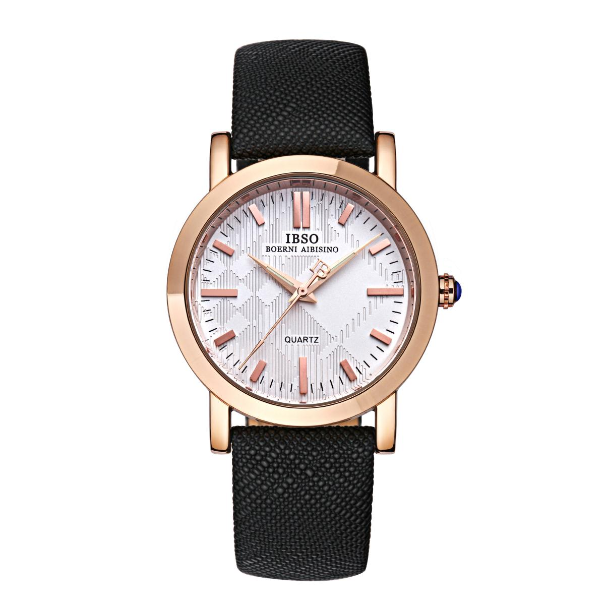 IBSO Top Quality Casual Rose Gold Watch Quartz Stick Markers Watches YYP3938