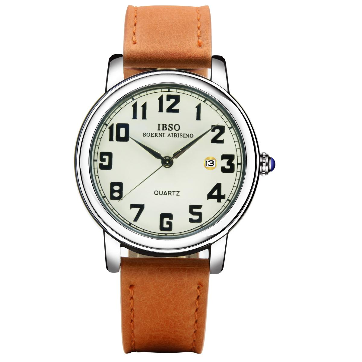 IBSO Good Quality Quartz Analog Watches for Men Genuine Leather Strap Quartz Wrist Watch YYP3969