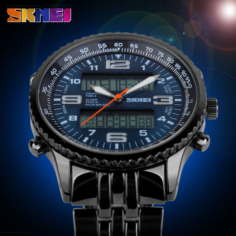 SKMEI Waterproof Fashion Casual Quartz Watch Digital & Analog Multifunctional Mens Sports Watches