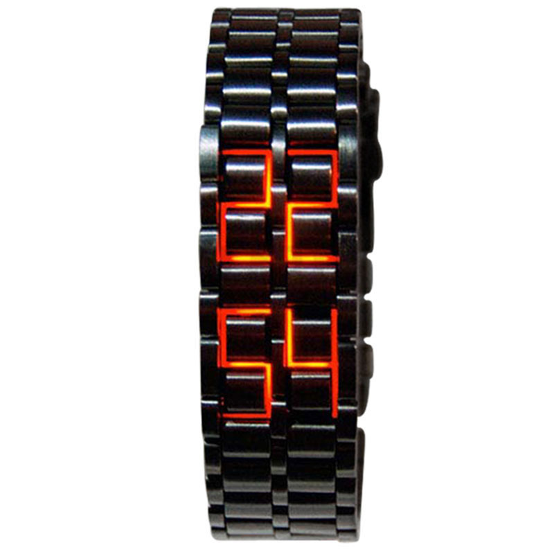 Special Stainless Steel Lava Led Waterproof Blue Red Couple Watch