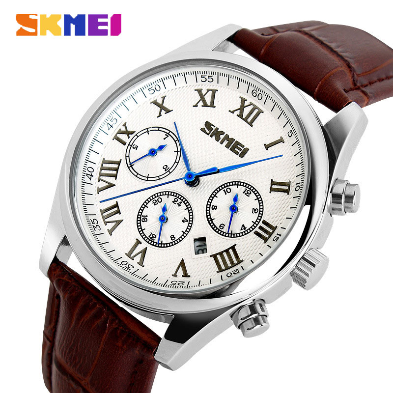 SKMEI Popular Brand 24 Hour Chrono Genuine Leather Quartz Casual Waterproof Men Watches