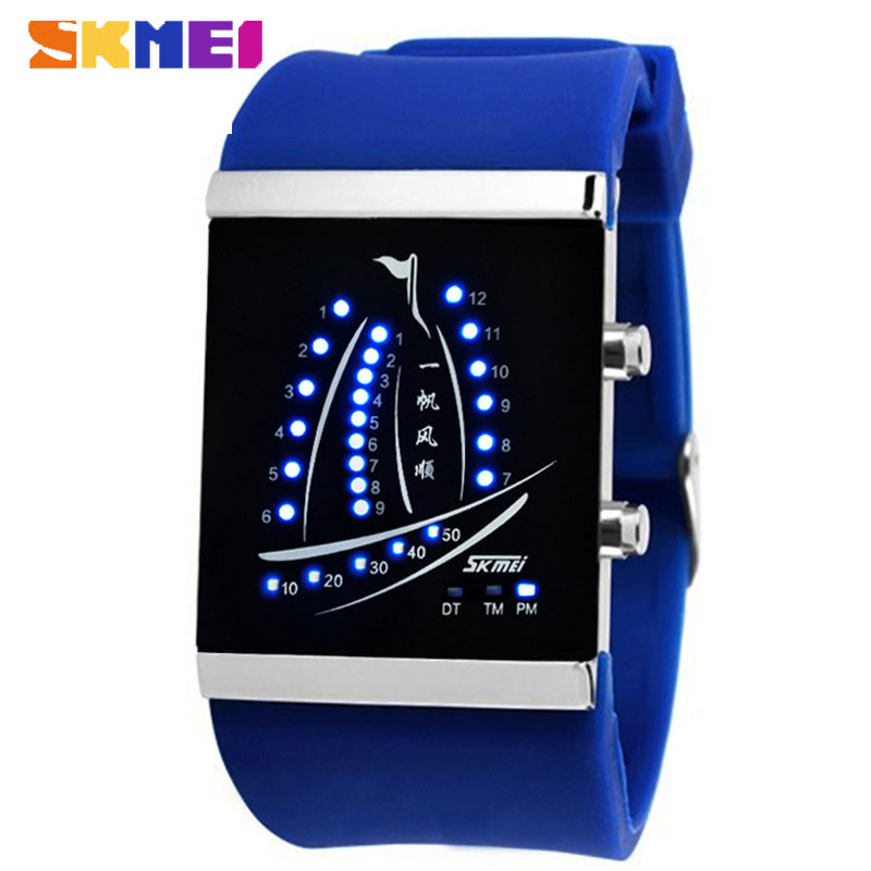 SKMEI Fashional Creative Lovers Electronic LED Silicone Digital Watch