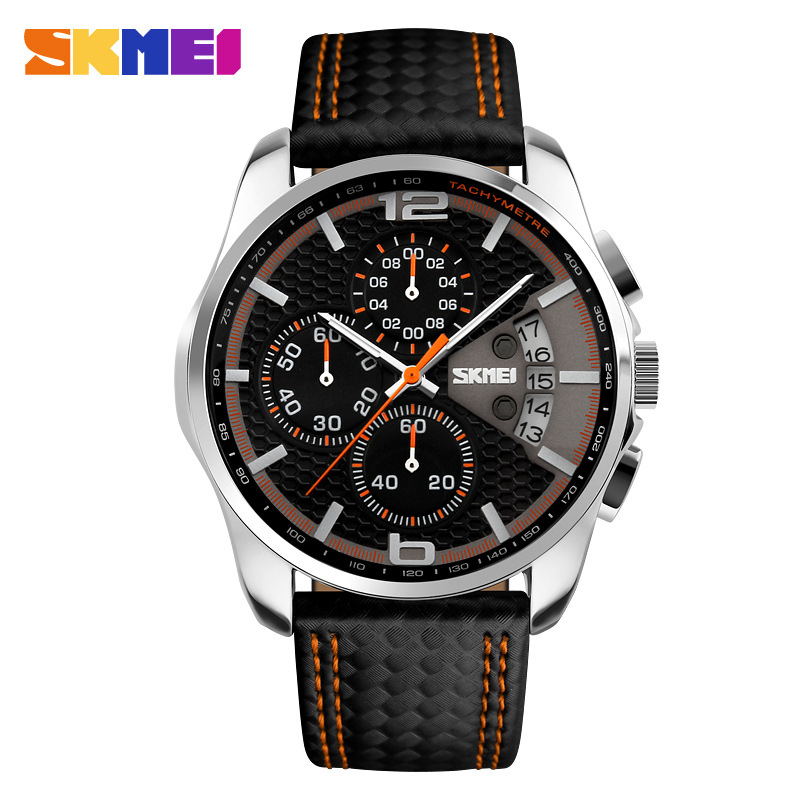 SKMEI Top Brand Luxury Male Leather Strap Clock Waterproof Quartz Watches