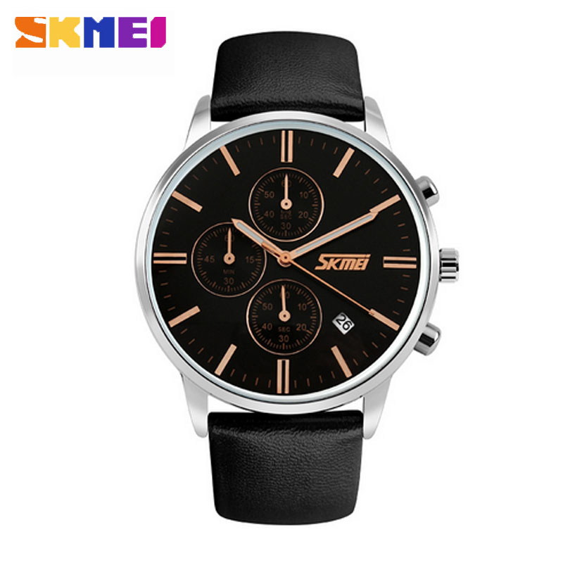 SKMEI Fashion Casual Quartz Genuine Leather Strap Auto Date Waterproof Men Wristwatches