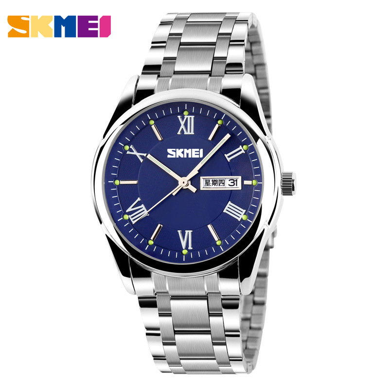 SKMEI Fashion High quality Waterproof Stainless Steel Date Day Quartz Luminous Hours Clock Men Wrist watch